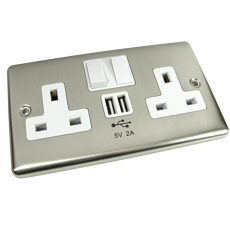 UK Mains Socket with USB Charger